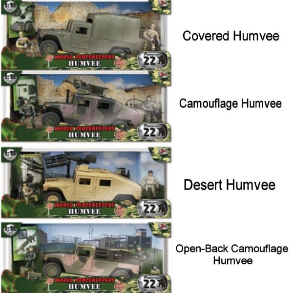 World Peacekeepers Assorted Military Humvee Army Toy with figures One Supplied